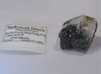 Tourmaline noire dans du Quartz, Chizeuil, Saône-et-Loire.