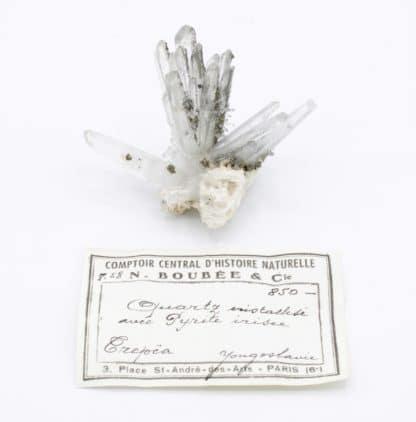 Pyrite sur cristaux de quartz, mine de Trepca, Yougoslavie.