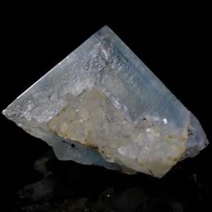 Fluorine bleue et quartz, mine de Mont-Roc (Montroc), Tarn.