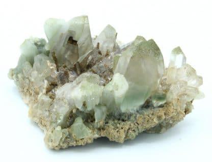 Epidote et quartz à inclusions d'amiante (byssolite), Oisans.