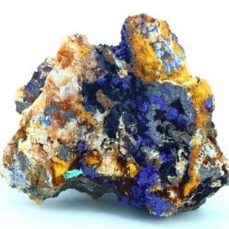 Azurite, goethite et malachite, mine du Moulinal, Rayssac, Tarn.