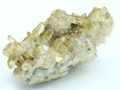 Calcite sur quartz, du Cumberland, Royaume-Uni, ex BMNH.