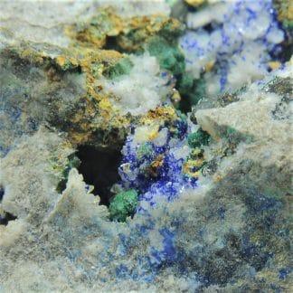 Azurite, Bindheimite, Tétraédrite, Arsénopyrite et Malachite, Le Mas Dieu, Gard.