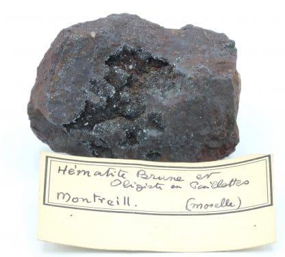 Hématite brune et oligiste en paillettes, Montreill, Moselle.