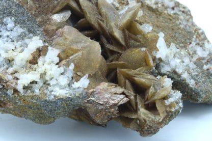 Sidérite en pétales et quartz, La Mure, Plateau Matheysin, Isère.