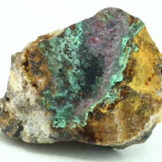 Cuprite, Aurichalcite, Malachite, carrière de Laguépie, Tarn-et-Garonne.