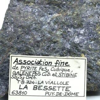 Pyrite, galène et stibine, La Bessette, Puy-de-Dôme.