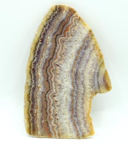 Tranche de calcédoine (agate) polie, Châtelperron, Vichy, Allier.