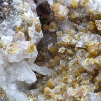 Vanadinite, calcite, Mine San Carlos, Chihuahua, Mexique.