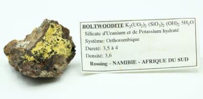 Boltwoodite, mine de Rössing, Arandis, Erongo, Namibie.