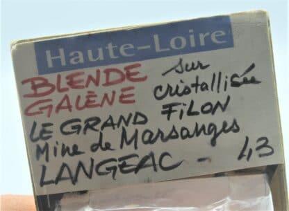 Blende (Sphalérite) et Galène, Marsanges, Langeac, Haute-Loire.