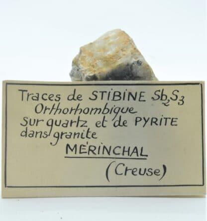 Stibine, Quartz et Pyrite, Mine de Mérinchal, Creuse, Limousin.