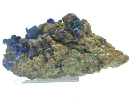 Chessylite (Azurite) et Malachite, Collection du XIXème, Mines de Chessy, Rhône.