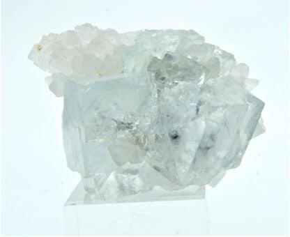 Quartz sur cristaux de fluorine (fluorite) bleutée, Trébas, Tarn.