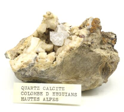 Quartz diamant sur calcite, Colombe d'Eyguians, Hautes-Alpes.