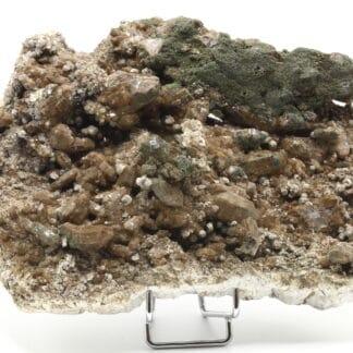 Quartz à chlorite brune, anatases, calcite, E2R, Lauzière, Savoie.