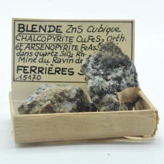 Blende (Sphalérite), Chalcopyrite et Arsénopyrite, Mine du Ravin de Roland, Cantal.