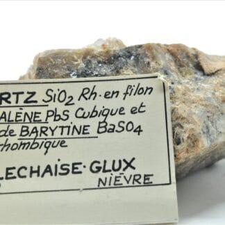 Quartz, Galène et Baryte, Villechaise-Glux, Nièvre, Morvan.