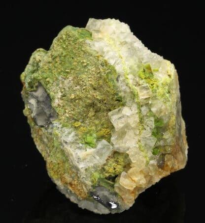 Pyromorphite et fluorite sur galène, L'Argentolle, Saône-et-Loire.