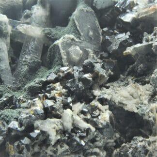 Cassitérite, Chlorite et Quartz, Mine Wherry, Penzance, Cornwall, Royaume-Uni.