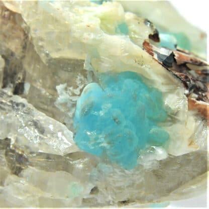 Hémimorphite bleue sur Cérusite, M'Fouati, Congo, Afrique.