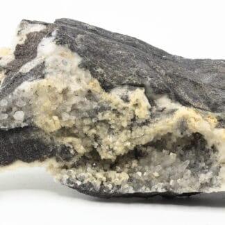 Dolomite sur quartz, Estevelles, Pas-de-Calais, Hauts-de-France.